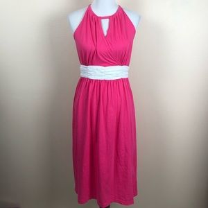 NWT Lauren James pink midi dress with white bow